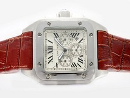 Fake Fancy Cartier Santos 100 Working Chronograph with White Dial AAA Watches [D1A7]