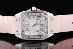 Fake Fancy Cartier Santos 100 quartz with Diamond Bezel and White Case AAA Watches [T3W4]