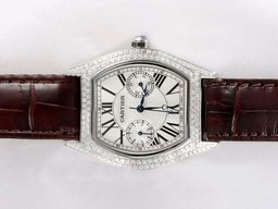 Fake Fancy Cartier Tortue Full Diamond Bezel with White Dial Lady Size AAA Watches [W7C1]
