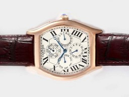 Fake Fancy Cartier Tortue Quantième Perpetual Automatiska Rose Gold Case AAA klockor [ B8I9 ]