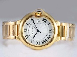 Fake Gorgeous Cartier Ballon Bleu de Cartier Full Gold with White Dial-Medium AAA Watches [J4N4]