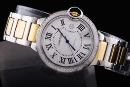 Fake Gorgeous Cartier Ballon Bleu de Cartier with Double Diamond Bezel-Medium AAA Watches [O9E4]