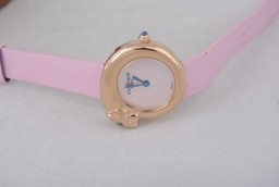 Fake Gorgeous Cartier Classic Quartz Rose Gold Case with White Dial and Pink AAA Watches [D6F1]