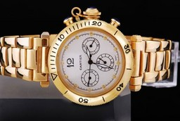 Fake Gorgeous Cartier Pasha Chronograh Automatic Full Gold with White Dial AAA Watches [V2E6]