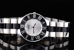 Fake Gorgeous Cartier Pasha Must Ceramic Quartz Movement with Silver Dial AAA Watches [J1D7]