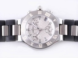 Fake Gorgeous Cartier Pasha Must de 21 Working Chronograph with Black-Lady Size AAA Watches [P2D6]