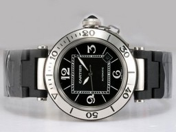 Fake Gorgeous Cartier Pasha Seatimer with Black Dial AAA Watches [D2A1]