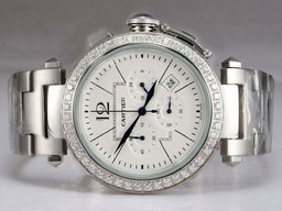 Fake Gorgeous Cartier Pasha Working Chronograph Diamond Bezel with White Dial AAA Watches [H4W8]