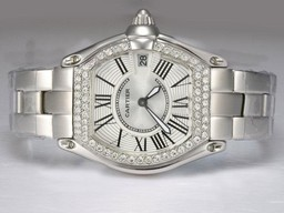 Fake Gorgeous Cartier Roadster Diamond Bezel with White Dial Lady Size AAA Watches [B2I4]