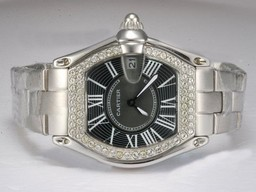 Fake Gorgeous Cartier Roadster Diamond Bezel with Black Dial Lady Size AAA Watches [R7D3]