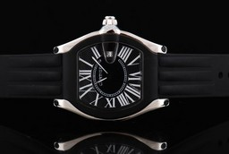 Fake Gorgeous Cartier Roadster Quartz Movement Silver Case with Black Bezel AAA Watches [D2C3]
