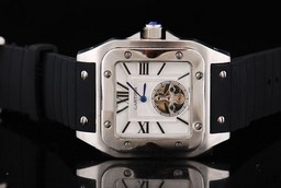 Fake Gorgeous Cartier Santos 100 Tourbillon Automatic Movement Silver Case AAA Watches [U2H7]