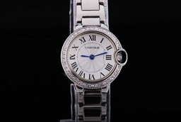 Fake Great Cartier Ballon Bleu de Cartier Diamond Bezel with White Dial AAA Watches [V2E5]