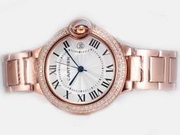 Fake Great Cartier Ballon Bleu de Cartier Full Rose Gold with Double Diamond AAA Watches [B2M8]