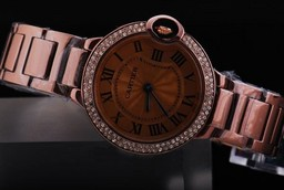 Fake Great Cartier Ballon Bleu de Cartier with Diamond Beze and Brown Dial AAA Watches [T3L2]
