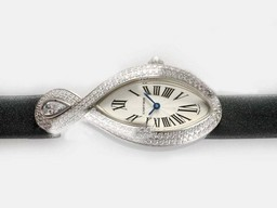 Fake Great Cartier Classic Ladies WG Diamonds/Sapphire Baignoire AAA Watches [L5B9]