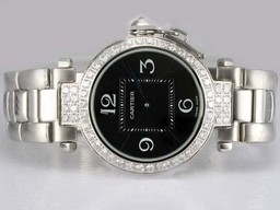 Fake Great Cartier Pasha Diamond Bezel with Black Dial AAA Watches [E3D6]