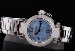Fake Great Cartier Pasha Quartz Movement with Blue MOP Dial and Black Marking AAA Watches [J8N8]