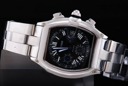 Fake Great Cartier Roadster Chronograph Automatic with Black Dial Man Size AAA Watches [M8G9]