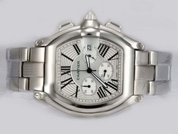 Fake Suuri Cartier Roadster Working Chronograph White Dial AAA k
