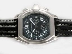 Fake Great Cartier Roadster Working Chronograph with Black Dial-Deployment AAA Watches [E7B9]