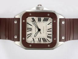 Fake Great Cartier Santos 100 Automatic with Brown Bezel and Rubber Strap AAA Watches [H6M7]