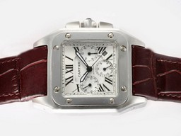 Fake Great Cartier Santos 100 Chronograph Automatic with White Dial AAA Watches [V5D6]