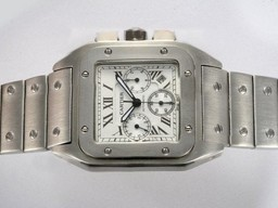 Fake Great Cartier Santos 100 Chronograph Automatic with White Dial AAA Watches [B5D1]