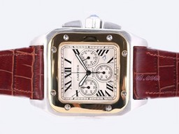 Fake Great Cartier Santos 100 Two Tone Working Chronograph AAA Watches [U1J5]