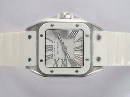 Fake Great Cartier Santos 100 White Dial and Bezel with White Rubber Strap AAA Watches [R3B4]
