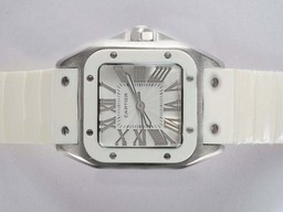 Fake Great Cartier Santos 100 White Dial and Bezel with White Rubber Strap AAA Watches [J8R7]