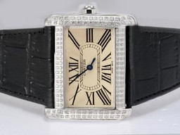 Fake Great Cartier Tank Divan Diamond Bezel with Beige Dial AAA Watches [E8S9]
