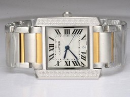 Fake Great Cartier Tank Two Tone with Diamond Bezel-White Dial Lady Model AAA Watches [Q6L4]
