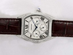 Fake Great Cartier Tortue Chronograph Diamond Bezel with White Dial Lady Size AAA Watches [T4U2]