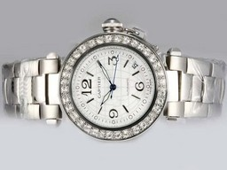 Fake Modern Cartier Pasha Automatic Diamond Bezel with White Dial AAA Watches [K1W4]