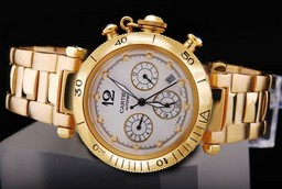 Fake Modern Cartier Pasha Chronograph Automatic Full Gold with White Dial AAA Watches [L5Q3]