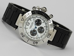 Fake Modern Cartier Pasha Chronograph Automatic Silver Dial with Rubber Strap AAA Watches [L3B9]