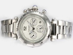 Fake Modern Cartier Pasha Chronograph Automatic with White Dial AAA Watches [E3V1]