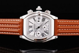 Fake Modern Cartier Roadster Automatic with White Dial and orangered Leather Strap AAA Watches [X5M6]