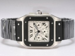 Fake Modern Cartier Santos 100 Chronograph Automatic with White Dial-Rubber Strap AAA Watches [S3O6]