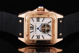 Fake Modern Cartier Santos 100 Tourbillon Automatic Movement Rose Gold Case AAA Watches [D3F5]