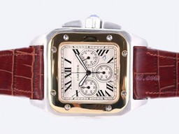 Fake Modern Cartier Santos 100 Two Tone Working Chronograph -Same Chassis As AAA Watches [E3G1]