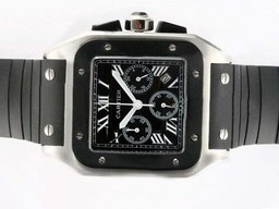 Fake Modern Cartier Santos 100 Working Chronograph with Black Dial-Rubber Strap AAA Watches [R1L6]