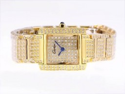 Fake Modern Cartier Tank Full Gold with Diamond Dial and Bezel AAA Watches [G5S7]