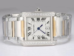 Fake Modern Cartier Tank Two Tone with Diamond Bezel-White Dial Lady Model AAA Watches [F7G1]