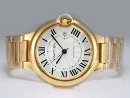 Fake Perfect Cartier Ballon Bleu de Cartier Automatic Full Gold with White Dial AAA Watches [G1O2]