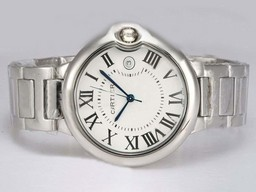 Fake Perfect Cartier Ballon Bleu de Cartier with White Dial Medium Size AAA Watches [B8P2]