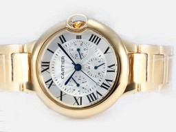 Fake Perfect Cartier Ballon Bleu de Cartier Chronograph Automatic Full Gold AAA Watches [O1W7]