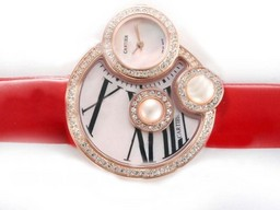Fake Perfect Cartier Classic Rose Gold Case Diamond Bezel with Pink Dial AAA Watches [S4K7]