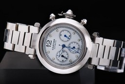 Fake Perfect Cartier Pasha Chronograh Automatic Movement with White Dial AAA Watches [D4E6]